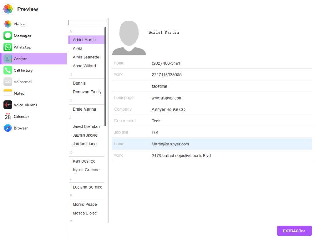 aispyer for ios demo contact